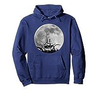 Kraken Sea Monster Sinking Ship Full Moon Shirts Hoodie Navy