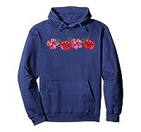 Hawaiian Hibiscus Flowers Aloha Vacation Shirts Hoodie Navy
