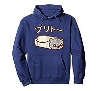 Kawaii T-shirt: Purrito Cat Japanese Version Hoodie Navy