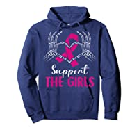 Support The Girls Boobs Hand Skeleton Breast Cancer Funny Shirts Hoodie Navy