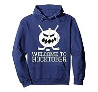 Halloween Hockey Pumpkin Welcome To Hocktober T Shirt Hoodie Navy