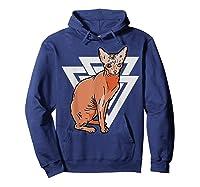Vintage Geometric Sphynx Cat T-shirt Hoodie Navy