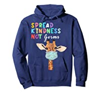 Spread Kindness Not Germs Funny Cute Giraffe Lover Animal Shirts Hoodie Navy