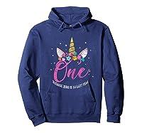 1 Year Old Birthday Girl Gifts Unicorn 1st Birthday Shirts Hoodie Navy