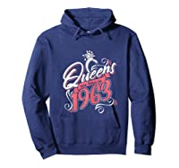 Queens Are Born In 1963 Bday Flamingo Gifts 57th Birthday T-shirt Hoodie Navy