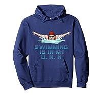Swimming Cap Goggles Swim Love Funny Swimmer Girl Dna Shirts Hoodie Navy