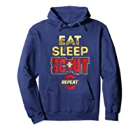 Eat Sleep Scout Repeat Funny Scouting Gift Shirts Hoodie Navy