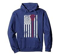 Lacrosse American Flag Patriotic Athletic Sport Shirts Hoodie Navy