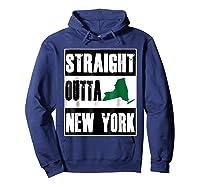 Straight Outta New York Funny Ny Shirts Hoodie Navy