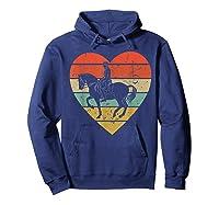 Dressage Vintage Design Retro Horseback Riding Heart Sport Shirts Hoodie Navy