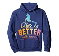 Cute Life Is Better With Horses Horsey Shirts Hoodie Navy