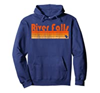 Retro 80s Style River Falls Wi Shirts Hoodie Navy