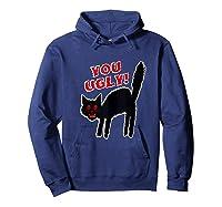Funny Halloween Scary Black Cat Horror Gift Creepy Black Cat Shirts Hoodie Navy