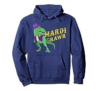 Mardi Grawr T Rex Dinosaur Mardi Gras Bead T Shirt T-shirt Hoodie Navy