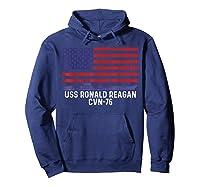 Ronald Reagan Cvn 76 Aircraft Carrier Vintage Usa Flag Shirts Hoodie Navy