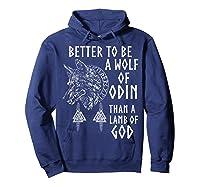 Vikings Wolf Rune Circle Wolf Of Odin Norse Mythology T-shirt Hoodie Navy