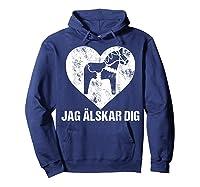 Scandinavian Valentine's Day Dala Horse Jag Alskar Dig Shirts Hoodie Navy
