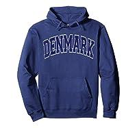 Denmark Varsity Style Navy Blue Text T-shirt Hoodie Navy