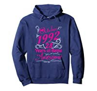 October 1992 28th Birthday Gift 28 Years Of Being Awesome Shirts Hoodie Navy