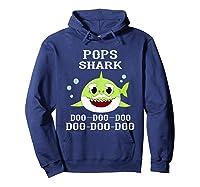 Pops Shark Doo Doo Doo Matching Family Shark Shirts Hoodie Navy