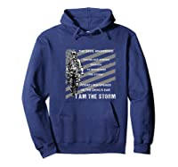 Military Combat Veteran Proud Patriot Us Flag I Am The Storm Premium T-shirt Hoodie Navy