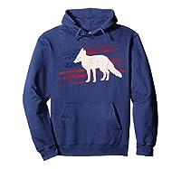 Fox Us American Flag Prairie 4th Of July Animal Usa Gift Shirts Hoodie Navy