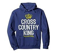 Cross Country King Running Runner Funny Cool Gift T-shirt Hoodie Navy