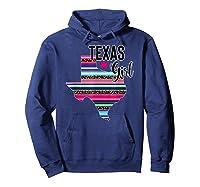 Texas Girl State Silhouette Serape T-shirt Hoodie Navy