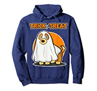 Dog Ghost Halloween Party Trick For Treat Shirts Hoodie Navy