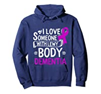 Lewy Body Detia Awareness Purple Ribbon Brain Disease T-shirt Hoodie Navy