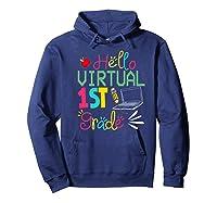 Funny Hello Virtual 1st Grade Gift Back To School 2020 Shirts Hoodie Navy