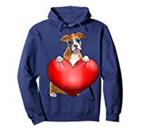 Valentines Day Dog Boxer Heart Gift Girl Shirts Hoodie Navy