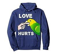 Love Hurts Yellow Head Amazon Parrot Biting Finger Shirts Hoodie Navy