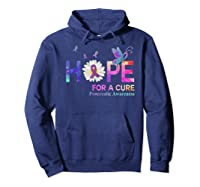 Hope For A Cure Pancreatic Cancer Butterfly Flower Shirts Hoodie Navy