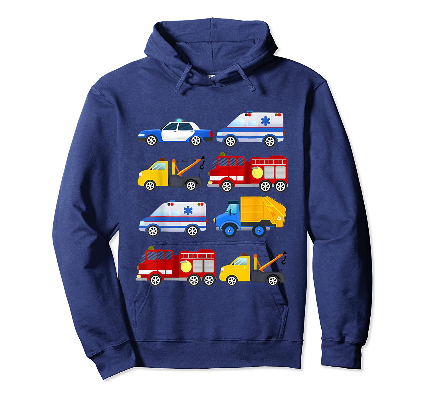 Emergency Vehicles Fire Truck Police Car Ambulance Tow Truck Shirts Unisex Pullover Hoodie