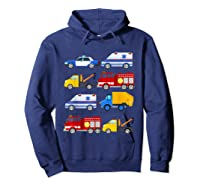 Emergency Vehicles Fire Truck Police Car Ambulance Tow Truck Shirts Hoodie Navy
