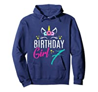 Birthday Girl 7 Year Old Gift Cute Unicorn Face 7th Bday T-shirt Hoodie Navy