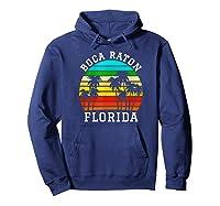 Boca Raton Florida Palm Trees Sunset Matching Vacation T-shirt Hoodie Navy