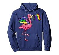 Flamingo Lgbt Pride Month T-shirt Hoodie Navy