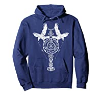 Odins Ravens Huginn & Muninn Vegvisir Tshirt Mjolnir Valknut Hoodie Navy