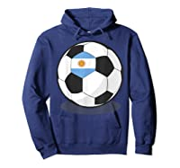 Argentinian Flag On Soccer Ball   Argentina Football Shirts Hoodie Navy
