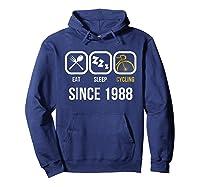 Eat Sleep Cycling Since 1988 T-shirt 30th Birthday Gift Tee Hoodie Navy