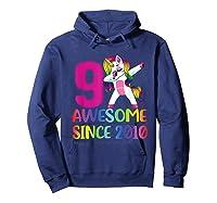 9 Years Old 9th Birthday Unicorn Dabbing Girl Party Shirts Hoodie Navy