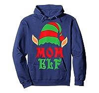 Christmas Mom Elf T Shirt Family Pajamas Xmas Mother Elves T-shirt Hoodie Navy