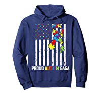 Autism Awareness American Flag Proud Autism Gaga Shirts Hoodie Navy