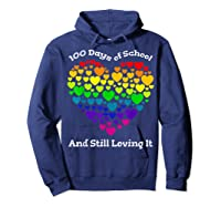 Funny 100th Day Of School Tea Heart Valentine Day Shirts Hoodie Navy