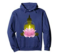 Funny Buddha Lotus Flower Spiritual Zen Meditation Yoga Gift T-shirt Hoodie Navy