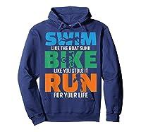 Swim Bike Run Triathlon Running Cycling Swimming Shirts Hoodie Navy