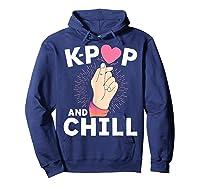 K Pop And Chill Finger Heart Korean Kpop Merchandise Shirts Hoodie Navy