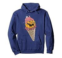 Halloween Pumpkin Ice Cream T-shirt Hoodie Navy